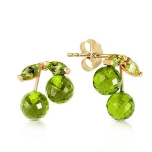 14K. SOLID GOLD EARRINGS WITH NATURAL PERIDOTS